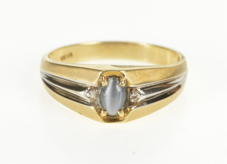 daac89182ad 10K Retro Sim. Grey Cat's Eye Diamond Men's Ring Size 10.25 Yellow Gold