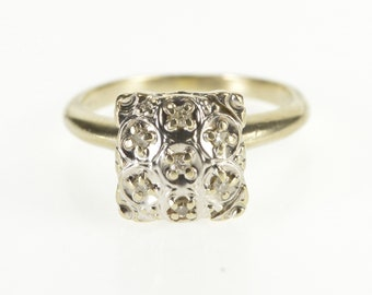 14K Retro Rounded Squared Diamond Cluster Ring Size 5.5 White Gold