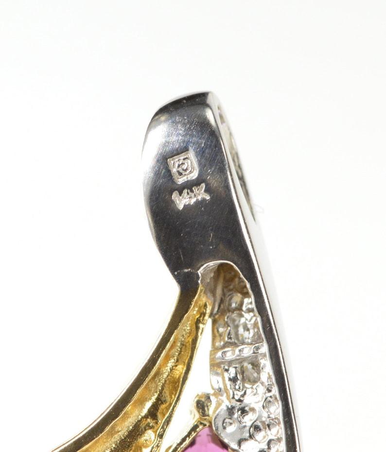 14K Rhodolite Garnet Two Tone Diamond Accent Pendant White Gold