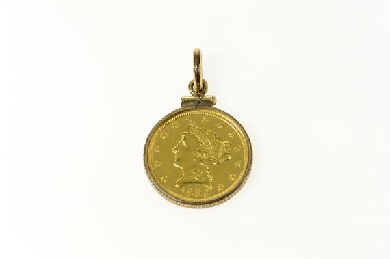 Vermeil Gold Double Sided Liberty Coin with Detailed Shield Back Pendant Coin Replica Medallion