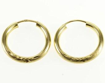 14k Diamond Cut Patterned Round Hoop Earrings Gold