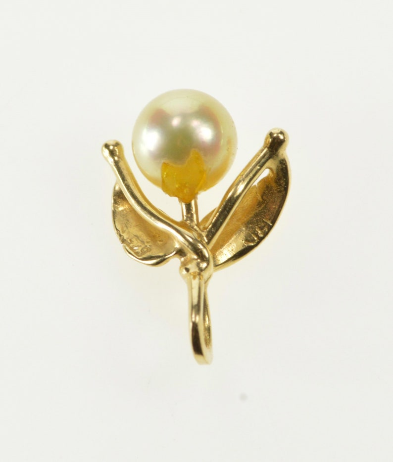 14K 3D Leaf Accent Pearl Retro 1960/'s Pendant Yellow Gold