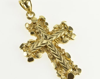 14K Chevron Pattern Nugget Trim Cross Christian Pendant Yellow Gold