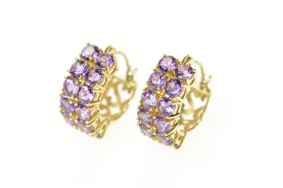 14K Squared Amethyst Patterned Statement Hoop Earr