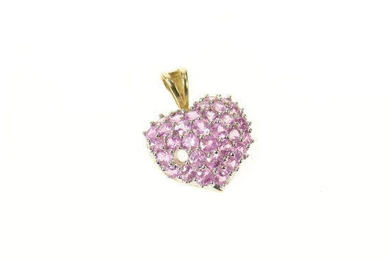 10K Pave Rounded Pink Topaz Heart Pendant Yellow G