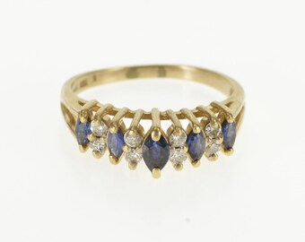 14K 0.56 Ctw Marquise Sapphire Diamond Pointed Ring Size 7.5 Yellow Gold