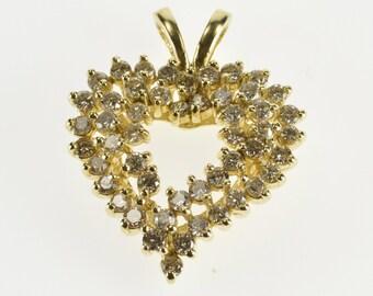 14K 1.50 Ctw Diamond Encrusted Heart Design Pendant Yellow Gold