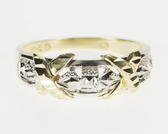 10K Two Tone Textured X Design Patterned Band Ring Size 6.75 Yellow Gold