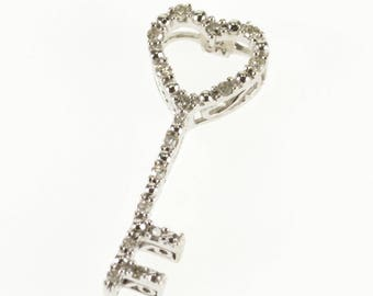 10k Diamond Encrusted Heart Skeleton Key Scroll Pendant Gold