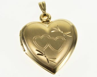 10k Satin Finish Heart Bow Design Heart Locket Pendant Gold