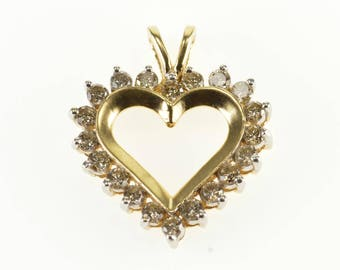 14k Diamond Inset Encrusted Heart Cut Out Pendant Gold