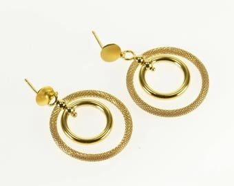 14k Tiered Studded Textured Loop Dangle Post Back Earrings Gold