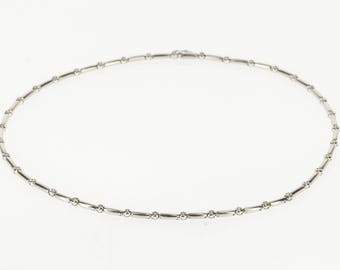 "14k 1.11 Ctw Diamond Round Bezel Inset Bar Link Necklace Gold 16"""