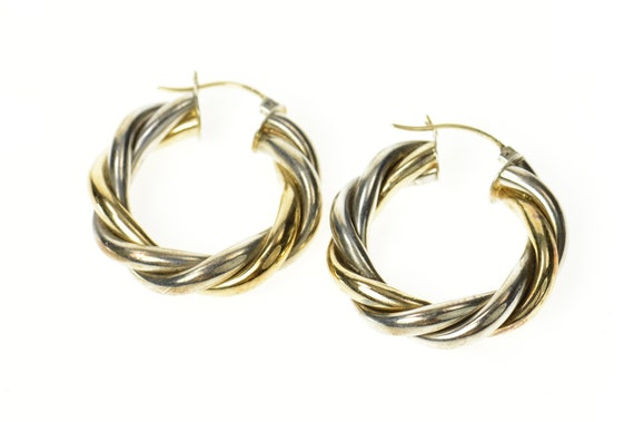 14K Sterling Silver Two Tone Twist Statement Hoop