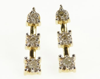 10K Diamond Tiered Inset Bar Post Back Earrings Yellow Gold