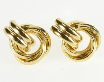 14K Squared Interlocked Circle Curved Accent Post Back Earrings Yellow Gold