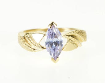 10k Light Purple Topaz Marquise Textured Wave Ring Gold