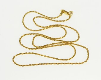 """14K 1.2mm Rolling Twist Spiral Rope Link Chain Necklace 20.25"""" Yellow Gold"""