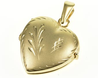 14k Etched Leaf Design Satin Finish Heart Locket Pendant Gold
