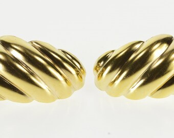 14K Curved Puffy Scalloped Twist Post Back Earrings Yellow Gold