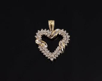 14k Diamond Encrusted Wrapped Heart Pendant Gold