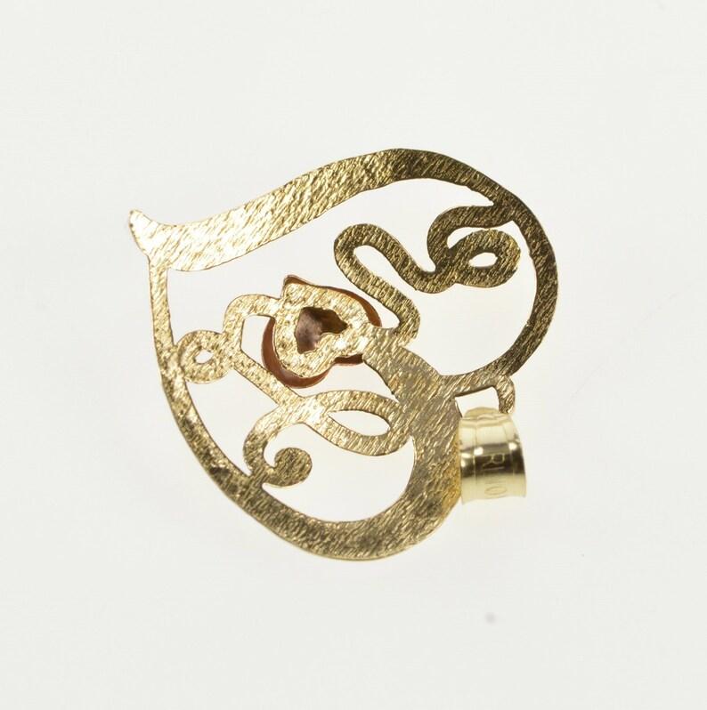 10K Tri Tone Cursive Love Heart Romantic Gift CharmPendant Yellow Gold