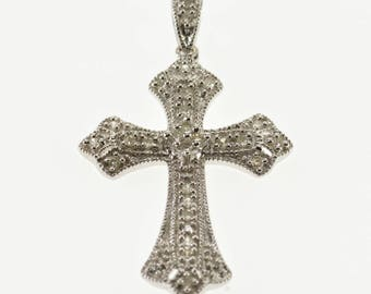 10k Diamond Encrusted Ornate Cross Christian Symbol Pendant Gold