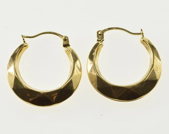 10K Geometric Pattern Design Hollow Hoop Earrings Yellow Gold