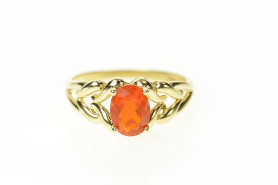 14K Oval Mexican Fire Opal Solitaire Statement Rin