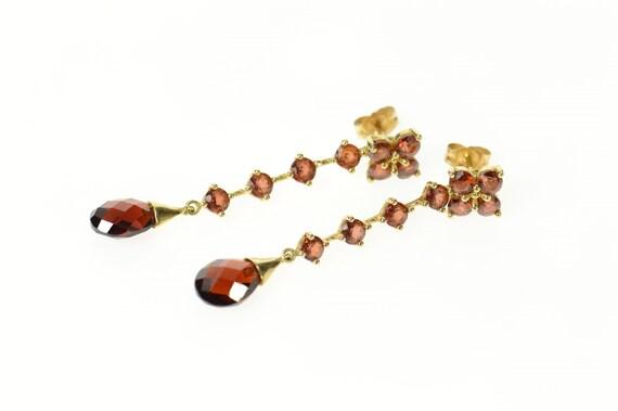 14K Ornate Garnet Drop Dangle Jacket Statement Ear