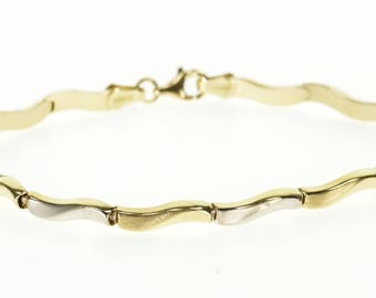10k Two Tone Textured Wave Link Bracelet Gold 7""