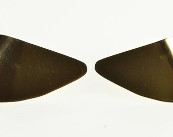 14K Curved Geometric Triangular Post Back Earrings Yellow Gold