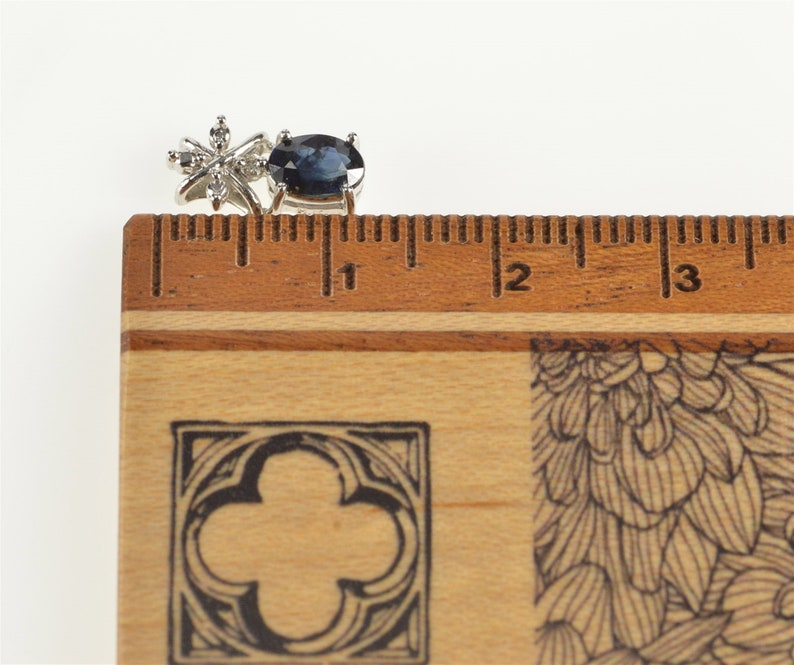 14K Oval Natural Sapphire Diamond Accent Pendant White Gold