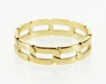 14k Squared Chain Link Design Patterned Band Ring Gold