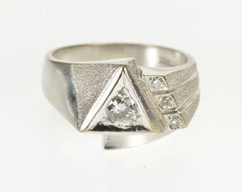 14k 0.50 Ctw Diamond Geometric Design Textured Ring Gold