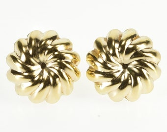 14K Rounded Scalloped Twist Sprial Post Back Earrings Yellow Gold