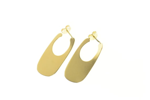 18K Oval Flat Geometric Retro Statement Hoop Earri