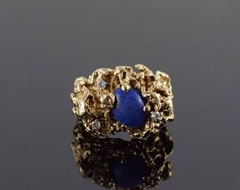 14k 1.10 CTW Lapis Diamond Nugget Ring Gold