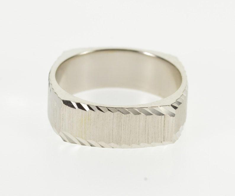 14K Squared Diamond Cut Trim Textured Wedding Band Ring Size 5.75 White Gold