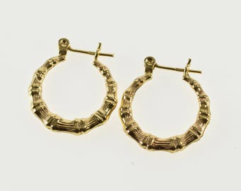14K Bamboo Design Patterned Design Hollow Hoop Earrings Yellow Gold