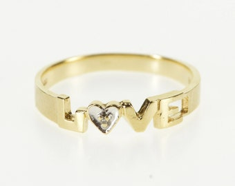 10K Diamond Inset Love Word Design Band Ring Size 6 Yellow Gold