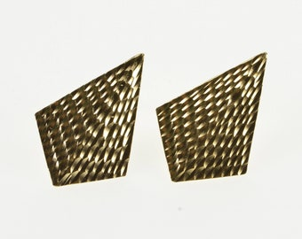 14K Grooved Textured Ridged Kite Post Back Earrings Yellow Gold