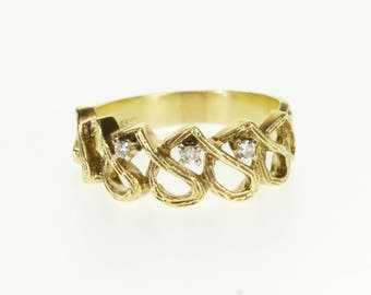 14k Textured Wave Loop Patterned Diamond Band Ring Gold