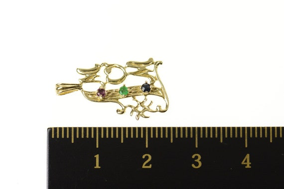 14K #1 Mom Sapphire Ruby Emerald Mother/'s Day CharmPendant Yellow Gold