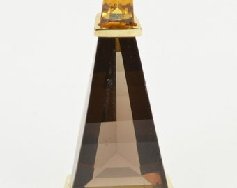 14K Faceted Smokey Quartz Citrine Accent Pendant Yellow Gold