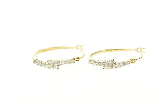 10K Diamond Inset Oval Statement Hoop Earrings Yel