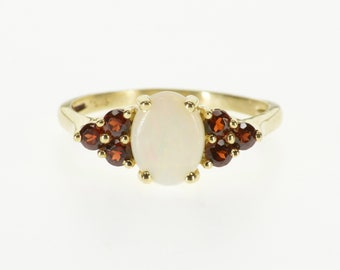 14k Opal* Oval Garnet Accent Cluster Statement Ring Gold