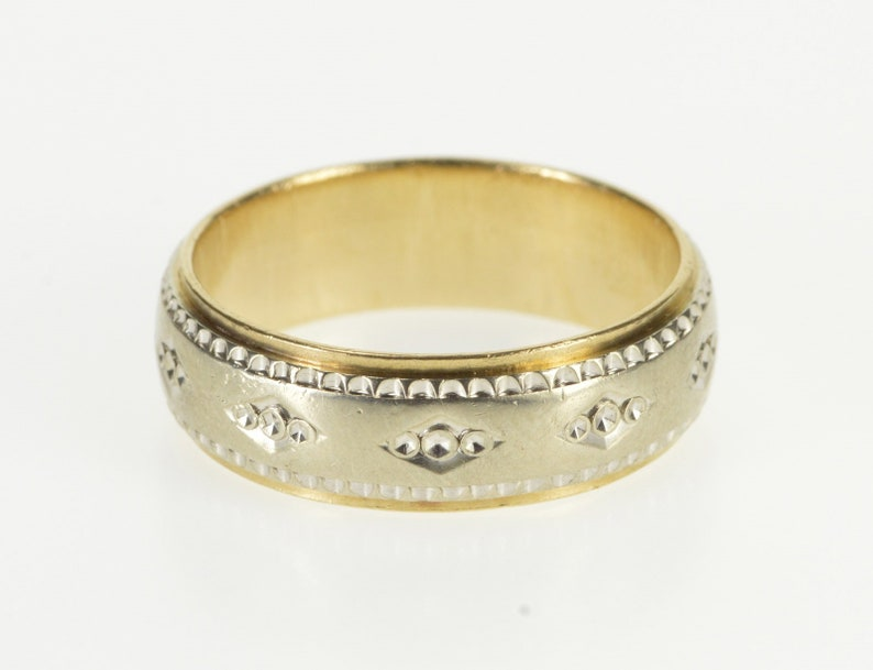 Vinatge Multi-Tone Gold Filled Adjustable Ring Topaz Wedding Band Women Jewelry