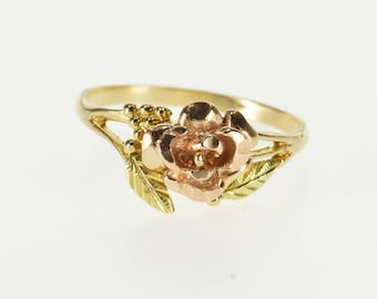 10k 3D Two Tone Rose Flower Textured Leaf Accent Ring Gold