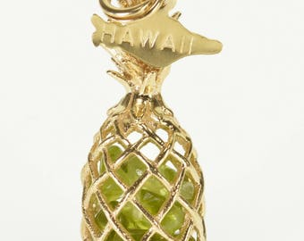 14k Peridot Pebble Filled 3D Pineapple Hawaii Pendant Gold